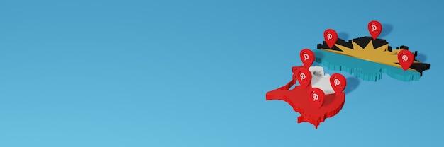Uso do pinterest na antiqua barbud para as necessidades de tv de mídia social e cobertura de plano de fundo do site