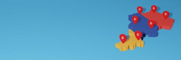 Uso do pinterest na armênia para as necessidades de tv de mídia social e cobertura de plano de fundo do site