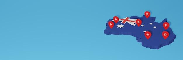 Uso do pinterest na austrália para as necessidades de tv de mídia social e cobertura de plano de fundo do site