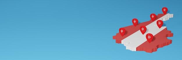 Uso do pinterest na áustria para as necessidades de tv de mídia social e cobertura de plano de fundo do site
