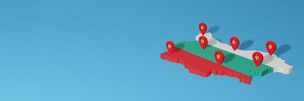 Uso do pinterest na bulgária para as necessidades de tv de mídia social e cobertura de plano de fundo do site