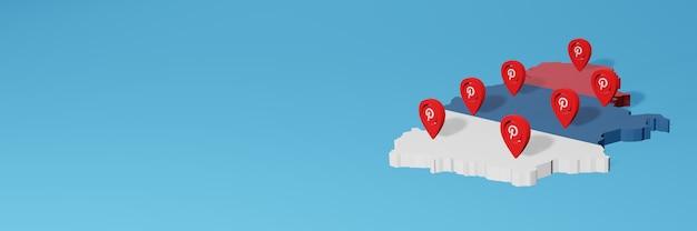 Uso do pinterest na sérvia para as necessidades de tv de mídia social e espaço em branco da capa do site