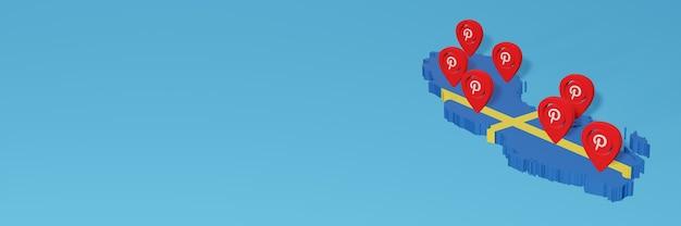 Uso do pinterest na suécia para as necessidades de tv de mídia social e cobertura de plano de fundo do site