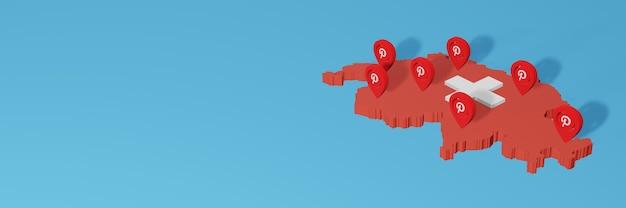 Uso do pinterest na suíça para as necessidades de tv de mídia social e cobertura de plano de fundo do site