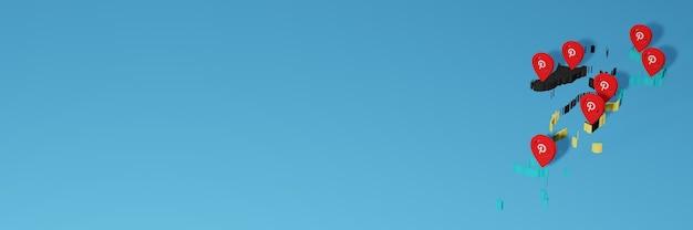 Uso do pinterest nas bahama para as necessidades de tv de mídia social e espaço em branco da capa do fundo do site