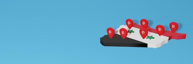 Uso do pinterest no syiria para as necessidades de tv de mídia social e espaço em branco da capa do site