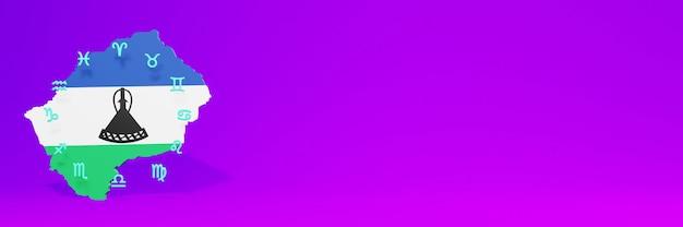 Uso do zodíaco no lesoto para as necessidades da tv nas redes sociais e espaço em branco da capa do site
