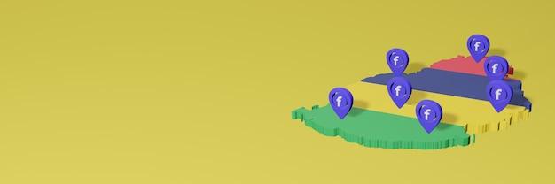 Uso e distribuição de mídia social facebook em maurício para infográficos em renderização 3d