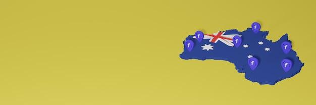 Uso e distribuição de mídia social facebook na austrália para infográficos em renderização 3d