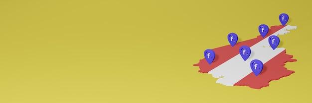 Uso e distribuição de mídia social facebook na áustria para infográficos em renderização 3d
