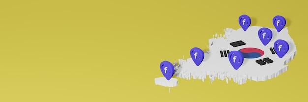 Uso e distribuição de mídia social facebook na coréia para infográficos em renderização 3d