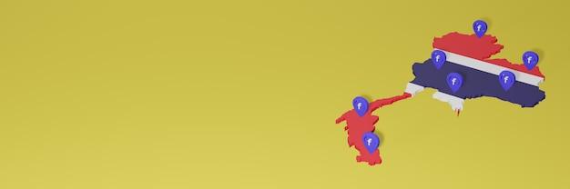 Uso e distribuição de mídia social facebook na costa rica para infográficos em renderização 3d
