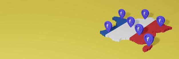 Uso e distribuição de mídia social facebook na frança para infográficos em renderização 3d