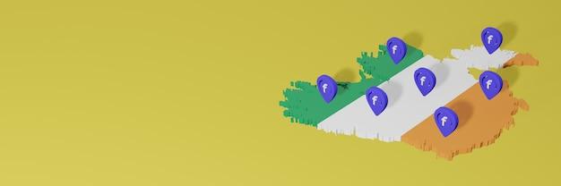 Uso e distribuição de mídia social facebook na irlanda para infográficos em renderização 3d