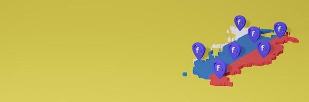 Uso e distribuição de mídia social facebook na rússia para infográficos em renderização 3d