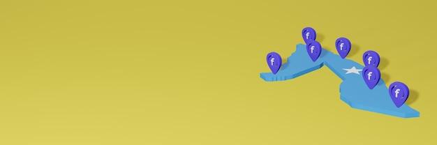 Uso e distribuição de mídia social facebook na somália para infográficos em renderização 3d