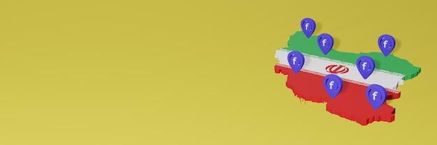 Uso e distribuição de mídia social facebook no irã para infográficos em renderização 3d