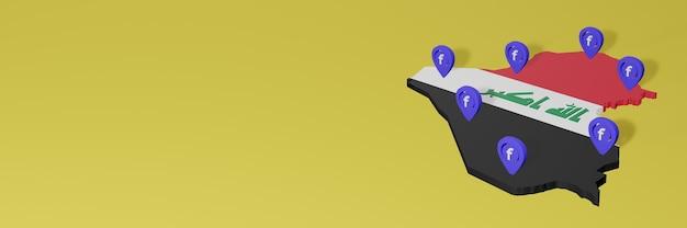 Uso e distribuição de mídia social facebook no iraque para infográficos em renderização 3d