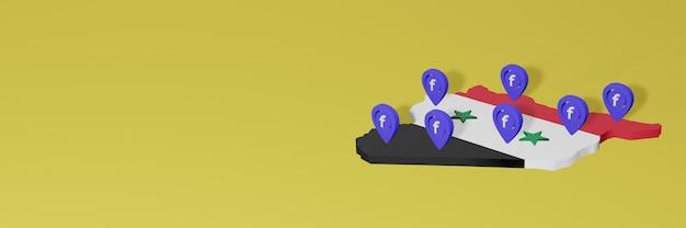 Uso e distribuição de mídias sociais facebook em syiria para infográficos em renderização 3d