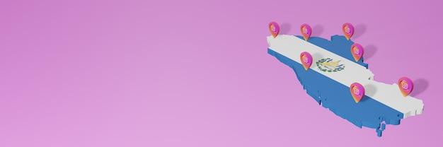 Uso e distribuição de redes sociais instagram em el savador para infográficos em renderização 3d