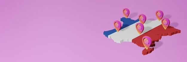 Uso e distribuição de redes sociais instagram na frança para infográficos em renderização 3d
