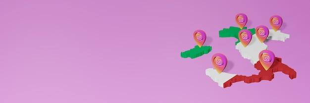 Uso e distribuição de redes sociais instagram na itália para infográficos em renderização 3d