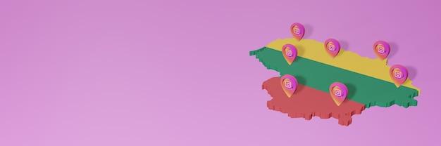 Uso e distribuição de redes sociais instagram na lituânia para infográficos em renderização 3d