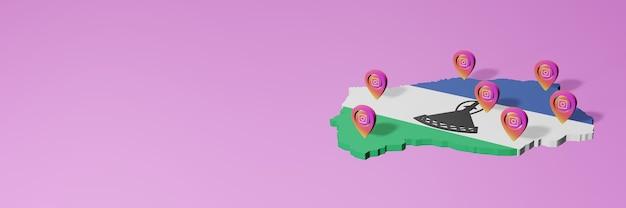 Uso e distribuição de redes sociais instagram no lesoto para infográficos em renderização 3d