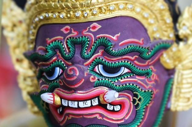 Uso tradicional tailandês da máscara no desempenho real, khon. hua khon