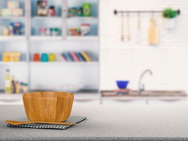 Utensílios de cozinha em balcão de granito com fundo desfocado de cozinha