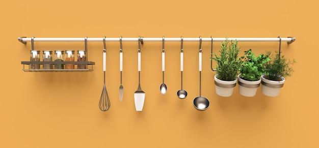 Utensílios de cozinha, granéis secos e temperos vivos em vasos pendurados na parede