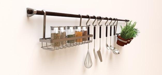 Utensílios de cozinha, massa seca e temperos vivos em potes estão pendurados na parede. renderização 3d.