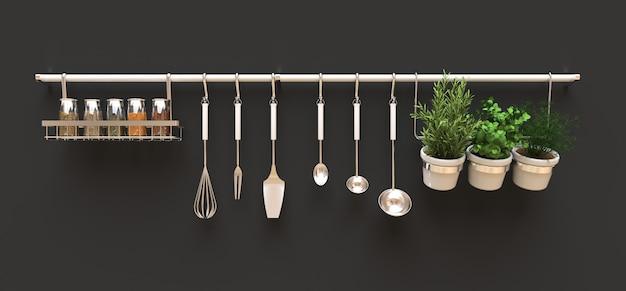 Utensílios de cozinha, massa seca e temperos vivos em vasos estão pendurados na parede. renderização em 3d