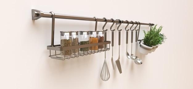 Utensílios de cozinha, massa seca e temperos vivos em vasos estão pendurados na parede. renderização em 3d.