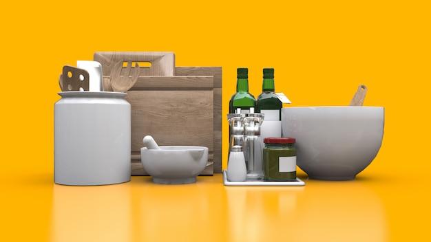 Utensílios de cozinha, óleo e vegetais enlatados em uma jarra. renderização em 3d.