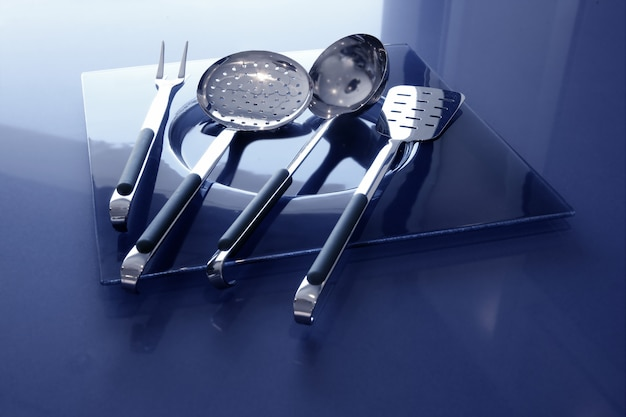 Utensílios de cozinha utensílios de cozinha azul e aço inoxidável