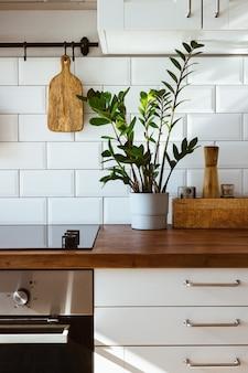 Utensílios de latão da cozinha acessórios do chef pendurado cozinha com parede de azulejos brancos e mesa de madeira - planta verde no fundo da cozinha luz da manhã