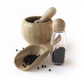 Utensílios de mesa de madeira com sementes de pimenta preta