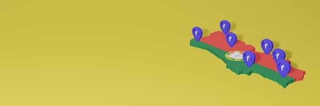 Utilização e distribuição das redes sociais facebook em portugal para infográficos em renderização 3d