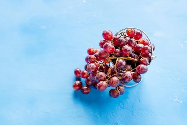 Uva vermelha com gotas da água, close up, isolado no bluebackground. uvas maduras em uma superfície concreta. a colheita de uvas. vinho, conceito de vinhedo. copie o espaço