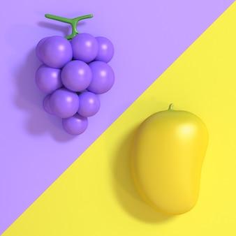 Uva violeta-roxa 3d e manga amarela cartoon estilo mínimo dois tons 3d render