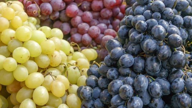 Uvas brancas, rosa e pretas frescas