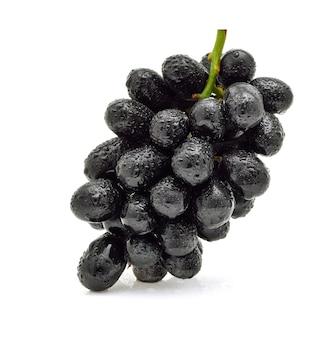 Uvas pretas com gota d'água isolada