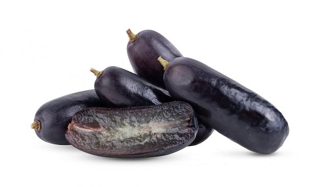 Uvas pretas no branco