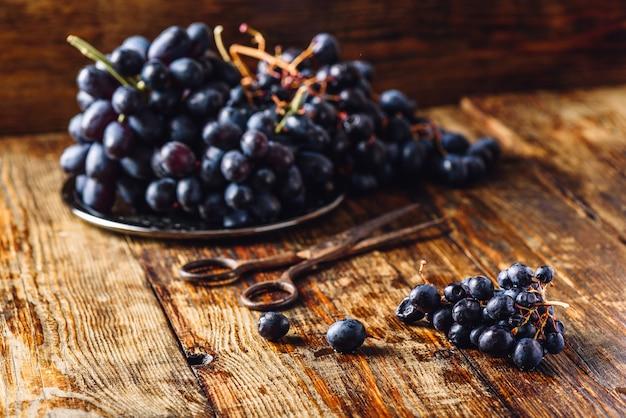 Uvas roxas e tesouras enferrujadas