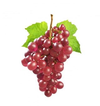 Uvas uvas vermelhas com folha verde
