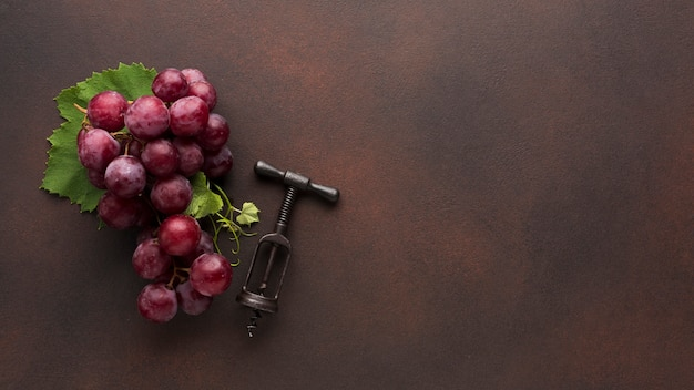 Uvas vermelhas e saca-rolhas de vinho