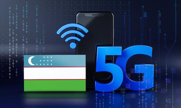 Uzbequistão pronto para o conceito de conexão 5g. fundo de tecnologia de smartphone de renderização 3d