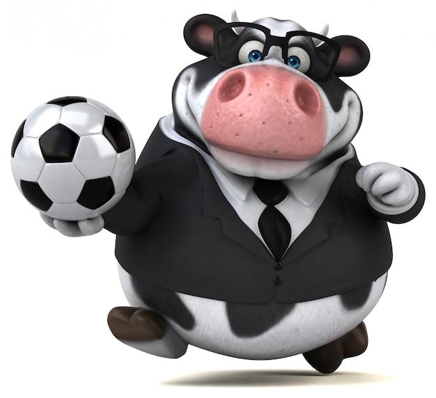 Vaca divertida com bola de futebol