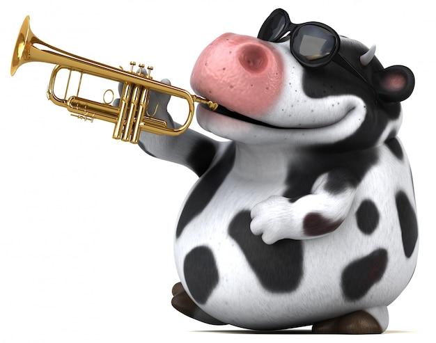 Vaca divertida com trompete ilustração 3d